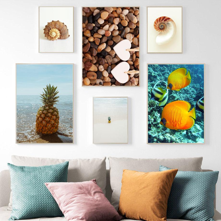 파인애플 소라 물고기 자갈 벽 예술 캔버스 그림 북유럽 포스터 및 인쇄 풍경 벽 거실 장식