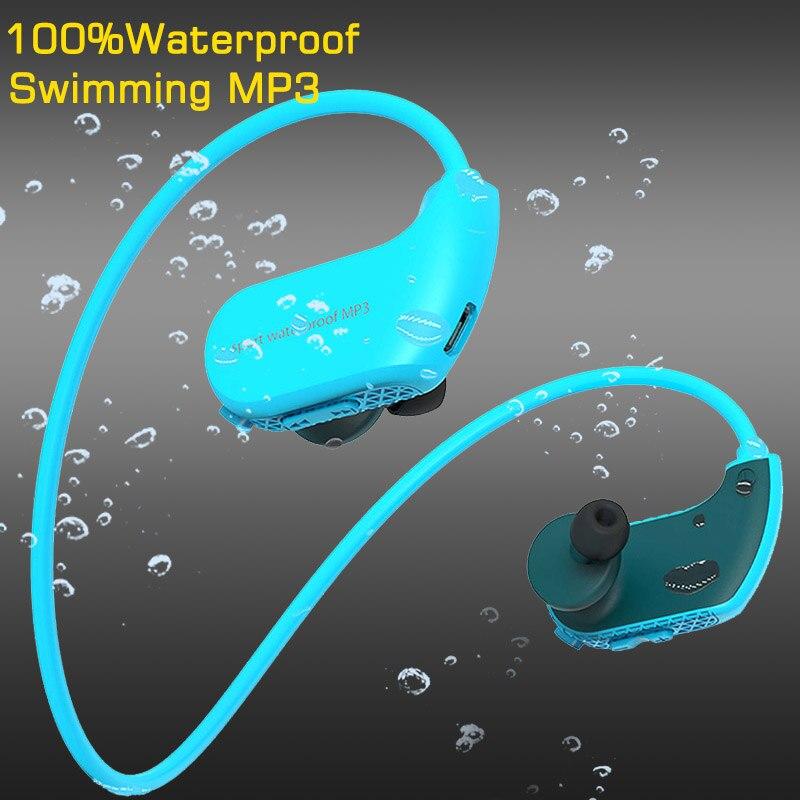 100% D'origine De Natation Écouteurs IPX8 Étanche Mp3 Lecteur écouteurs résistants à la transpiration 8 GB RAM Portable casque Lecteur de Musique Haut-Parleur