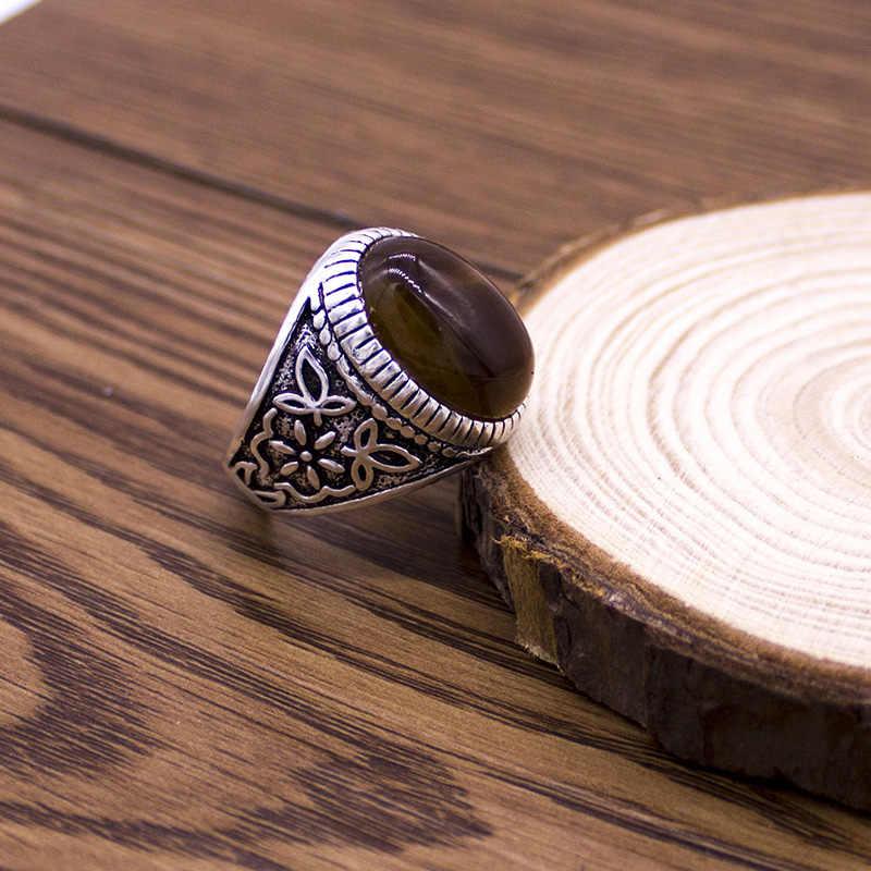 EKUSTYEE Vintage หินแหวนแฟชั่นเครื่องประดับสไตล์ Retro Vintage สำหรับผู้ชายผู้หญิง