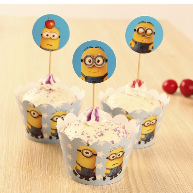 Kids Kitchen Toys Minions Party Supplies Cupcake Toppers Wrapper Children Decoration Christmas Birthday Items
