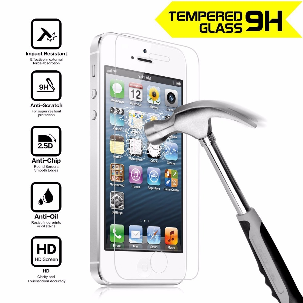 Tempered Glass Screen Protector Film For Apple iPhone 4S 5 5S SE 6 6S 7 8 Plus X Anti Shatter Film Guard 0.33MM 9H Anti-ScratchTempered Glass Screen Protector Film For Apple iPhone 4S 5 5S SE 6 6S 7 8 Plus X Anti Shatter Film Guard 0.33MM 9H Anti-Scratch