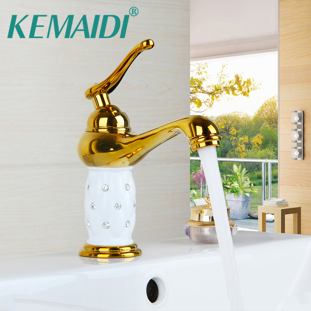 KEMAIDI RU salle de bains lavabo robinet pont montage navire vanité robinet évier mélangeur solide en laiton or diamant cristal corps robinet