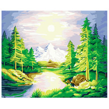 YIKEE decorative canvas oil painting by numbers,paint by number kits for adults Forest(China)