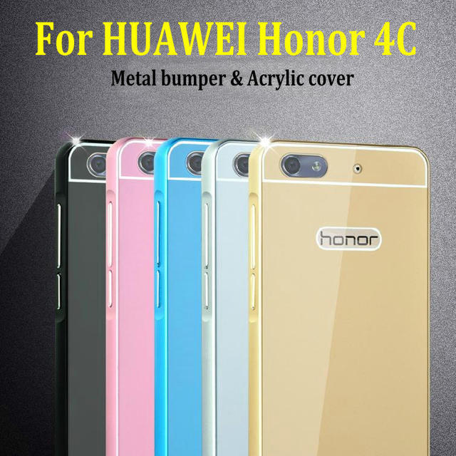 MAKAVO For Huawei Honor 4C Case Slim Acrylic Back Cover Aluminum Metal Frame Phone Cases