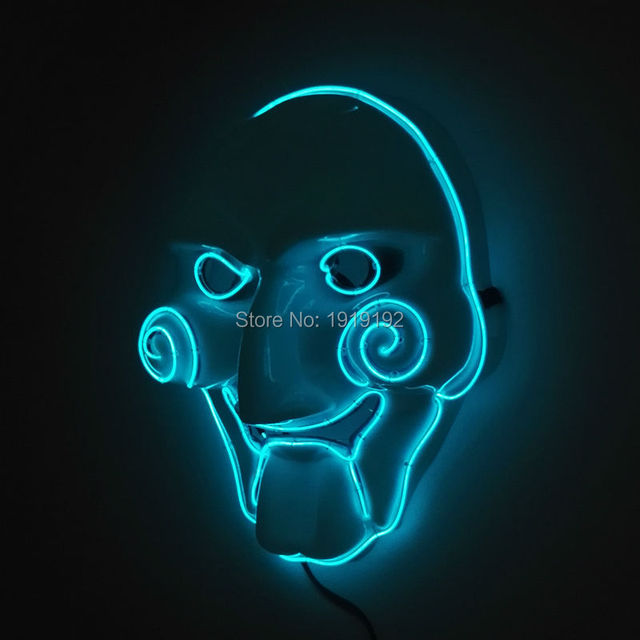 2017 New Hot Sale Guy Flash Led Glowing Dj Mask Cosplay Mask Halloween Ghost light up glowing EL wire By 3V Steady On Driver