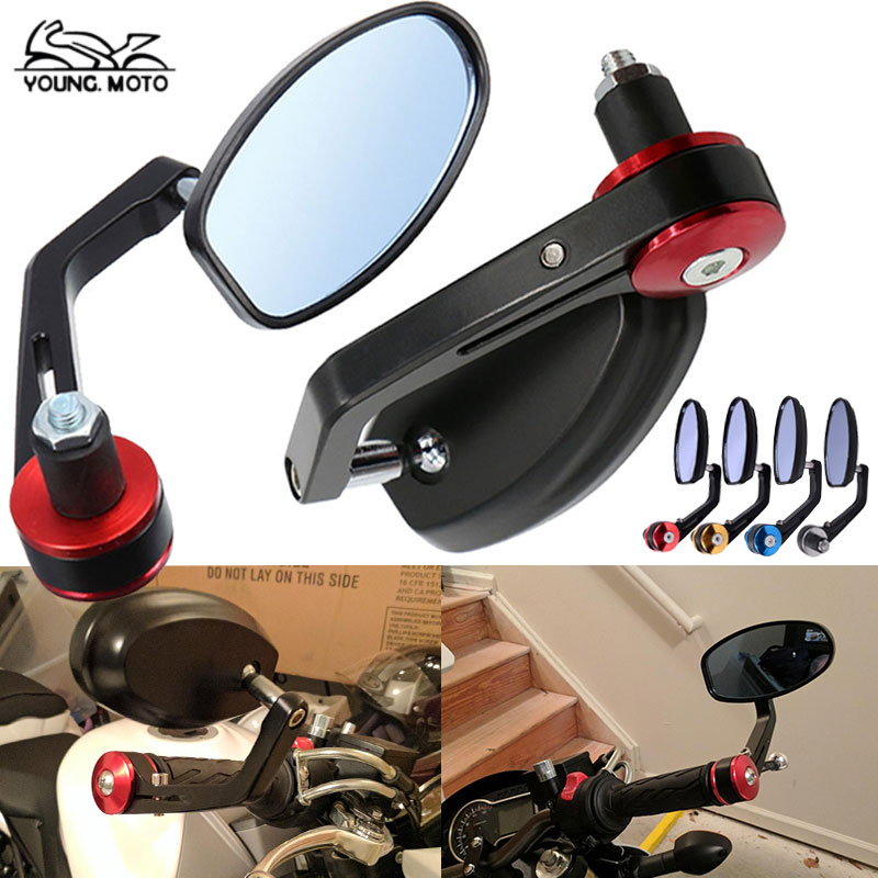 Left Right Black Universal Motorcycle Round Handle Bar End Rearview Side Mirror