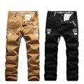 Мужчины осень-качества прямо свободного покроя брюки 100% хлопок A4 письмо Pring свободного покроя чинос брюки