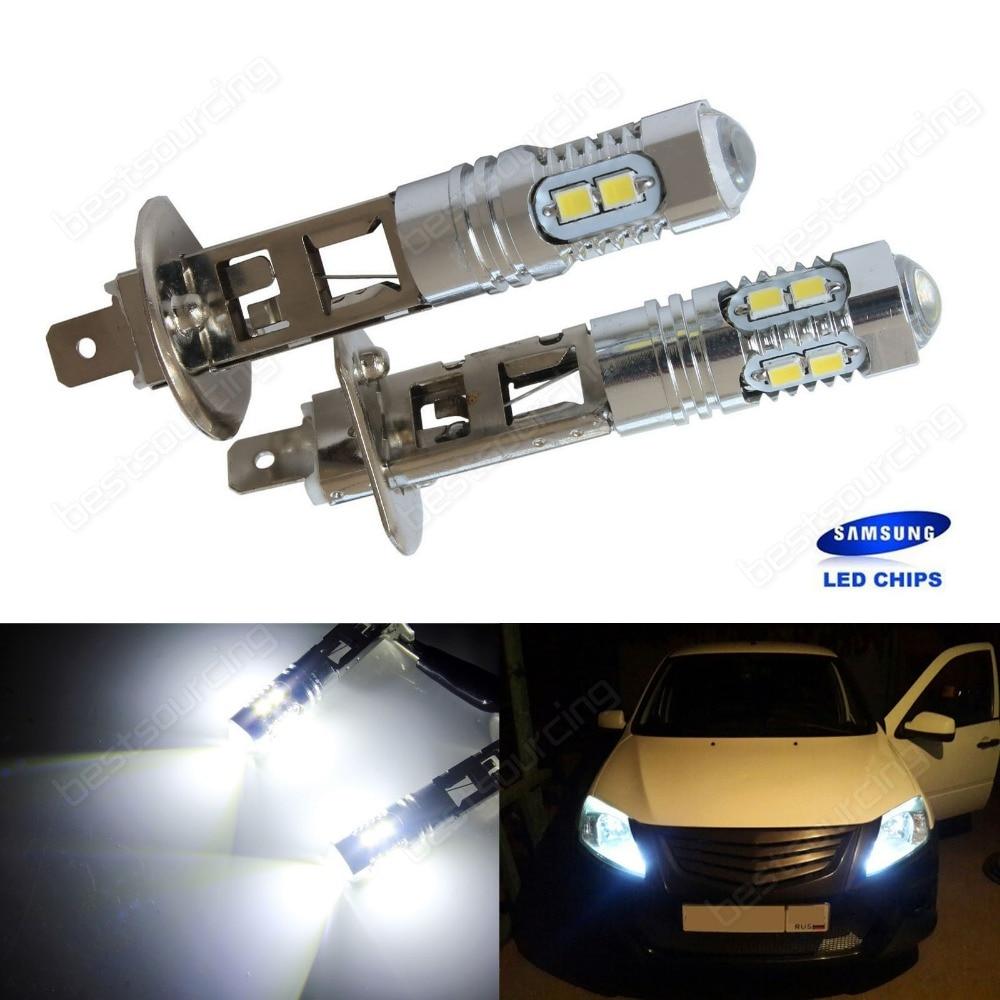 buy 2pcs h1 xenon white 10 smd led drl driving fog beam head light bulb lamp. Black Bedroom Furniture Sets. Home Design Ideas