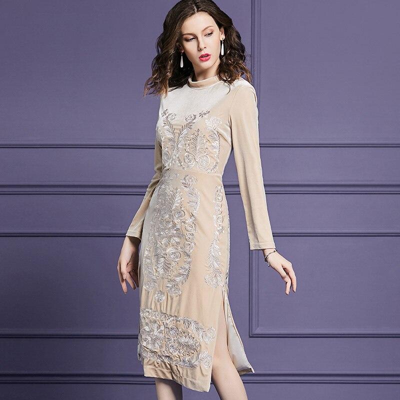 Vintage fleur broderie femmes robe de mode à manches longues robes de velours