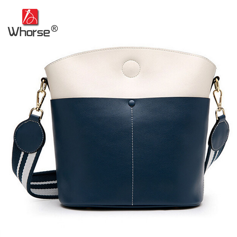 все цены на Fashion Genuine Leather Bucket Bag Two-tone Patchwork Women Casual Shoulder Messenger Bags Tote With Wide Strap W09160