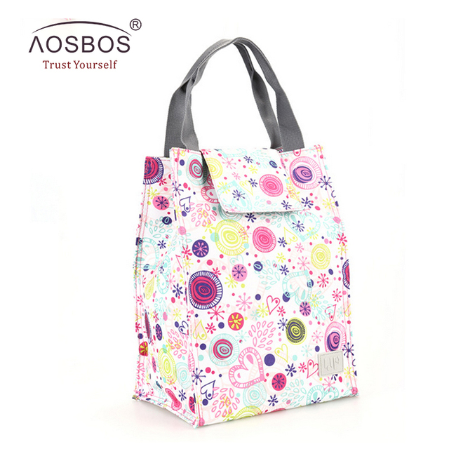Aosbos Adult Men Kids Women Portable Thermal Lunch Bags Women Waterproof Handbag Storage Tote Bags Food Lunch Picnic Bag Cooler