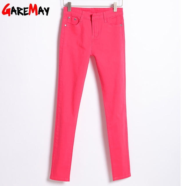 GAREMAY Women's Candy Pants Pencil Trousers 2018 Spring Fall Khaki Stretch Pants For Women Slim Ladies Jean Trousers Female 1010