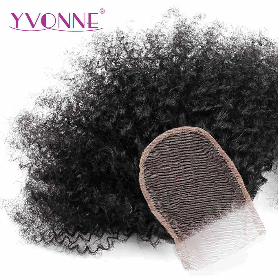 YVONNE Afro Kinky Curly Brazilian Virgin Hair Lace Closure 4x4 Free Part Human Hair Closure Natural Color Free Shipping