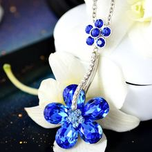 Women's wedding A long paragraph sweater chain necklace crystal sweater female Korean fashion jewelry all-match sky plum