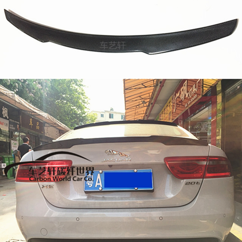Auto High Quality Carbon Fiber Rear Lip Spoiler Trunk Boot Wing 1Pcs Car Styling For Jaguar Spoiler XE 2015 2016 2017 yandex w205 amg style carbon fiber rear spoiler for benz w205 c200 c250 c300 c350 4door 2015 2016 2017