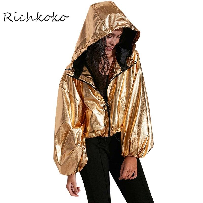 RichKoKo Ropa 2017 Nuevo Estilo Punky Del Oro Breve Chaqueta Corta Femenina Chaq