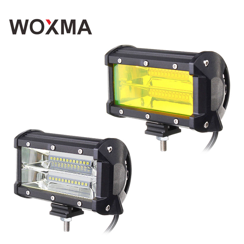 WOXMA work led bar 4x4 Off road 5inch work light 72W Car Flood Offroad Truck SUV ATV 12V 24V Yellow Driving work light Fog Lamp 3 suction cup car adapter holder for gopro hero 3 3 2 1 sj4000