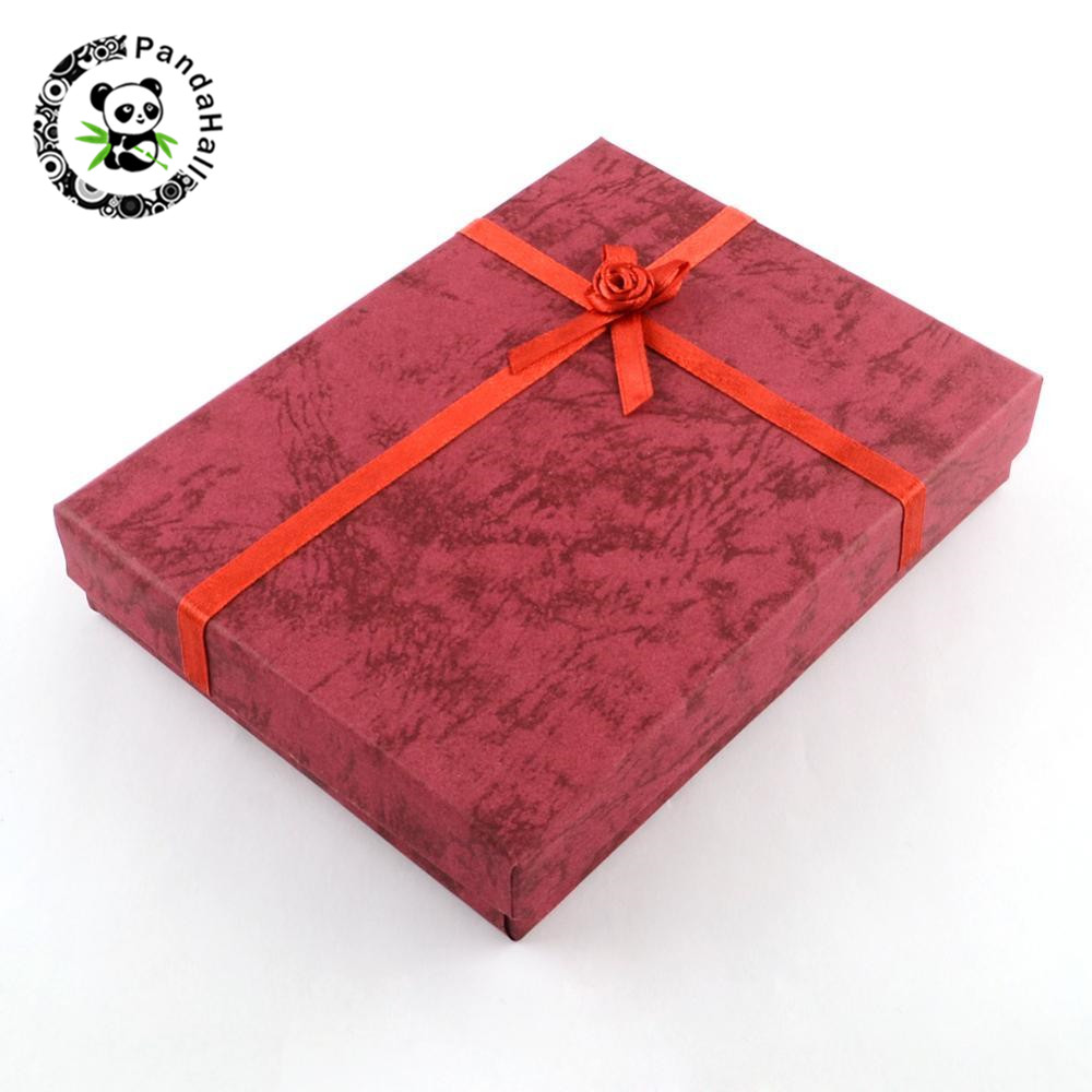 6pcs/lot Jewelry Cardboard Gift Boxes with Flower and Sponge Inside Rectangle Red 160x120x30mm; Inner size: 155x115mm