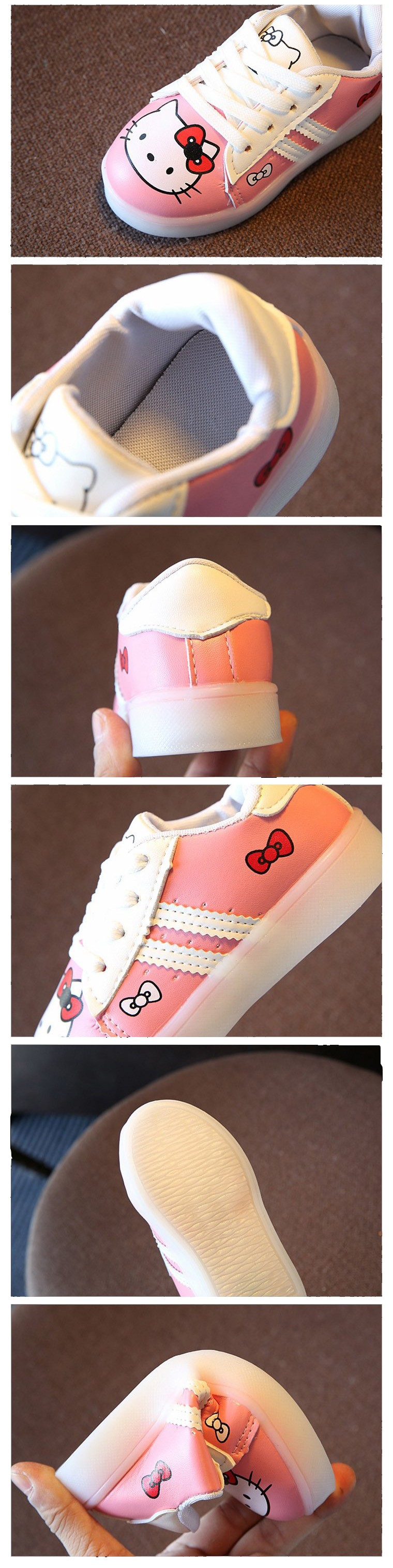 1bea0e926 ... causal baby girl LED lighted shoes cute hello kitty flash shoes for  1-6yrs girls ...
