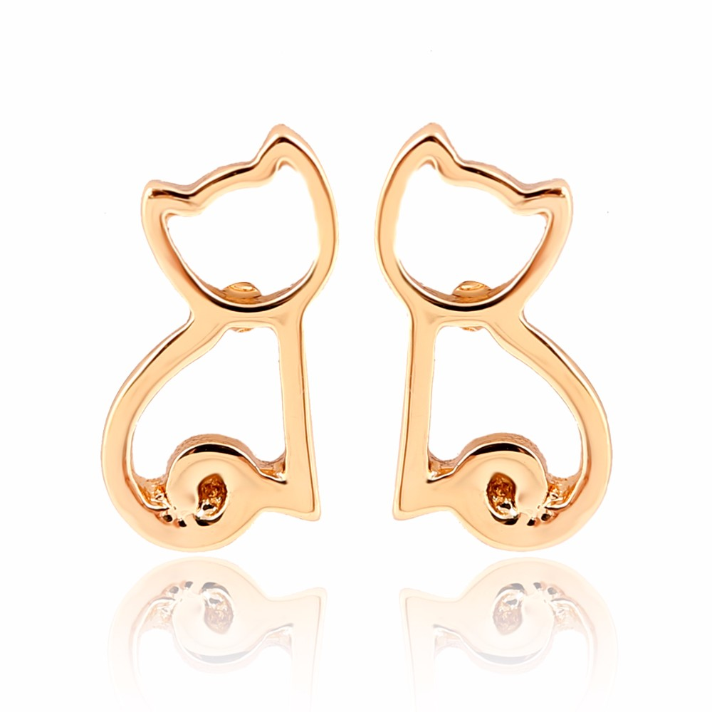 Wholesale 10Pairs Cute Sitting Cat Earrings Cute Animal Brincos Jewellery 3 Colors Available For Women Kids Earrigs Gift