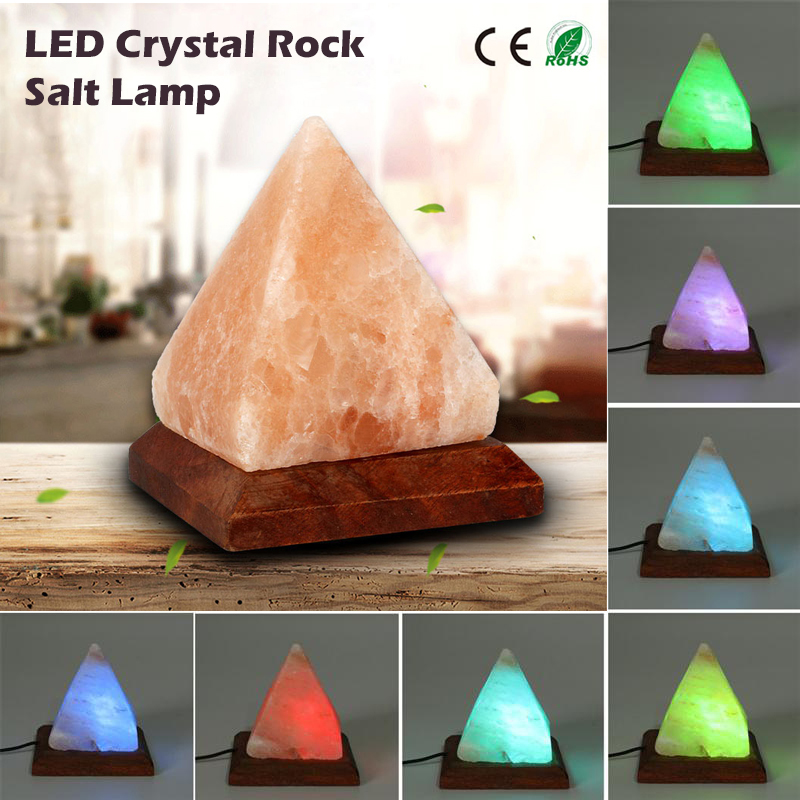 Jiadrui USB Salt Lamp Himalayan Colorful Crystal Rock Night Light Hand Carved Purifier Table Lamp Wooden Base Bedside Home Decor цена