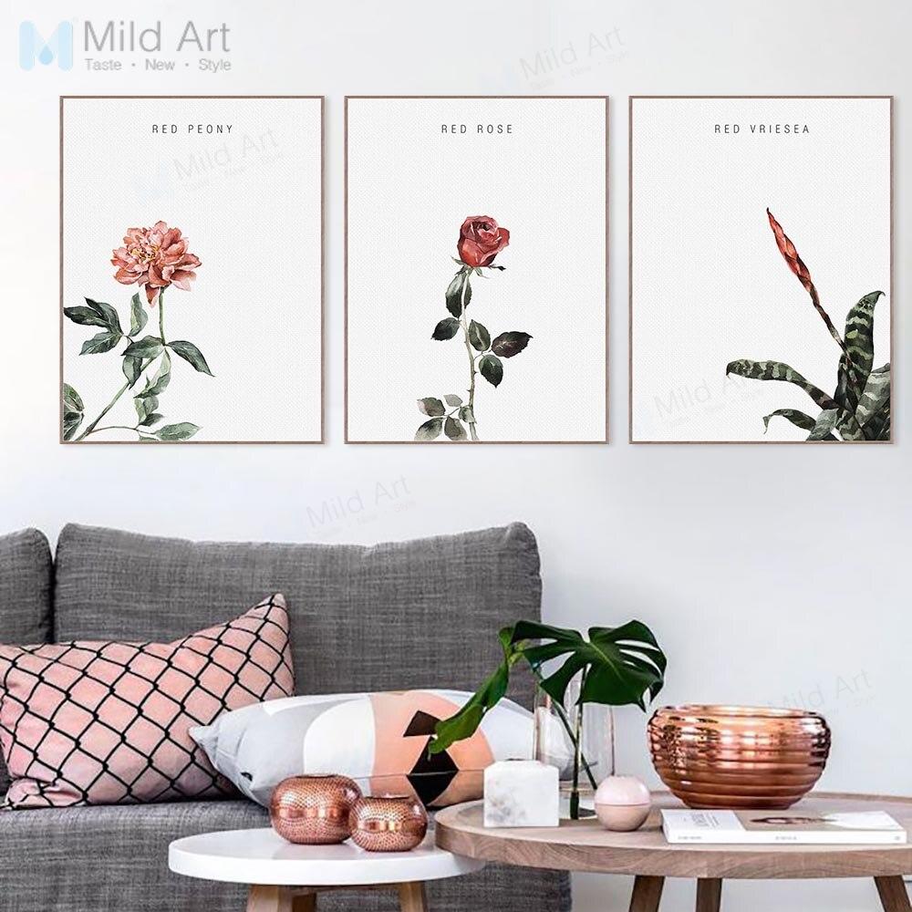 Minimalis Cat Air Merah Bunga Mawar Peony Bunga Poster Cetakan