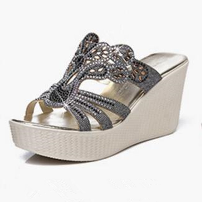 2019 New Rhinestone Summer Elegant Fashion Sandals Women Slippers Genuine Leather Shoes Platform Wedges High Heeled Sandals in High Heels from Shoes