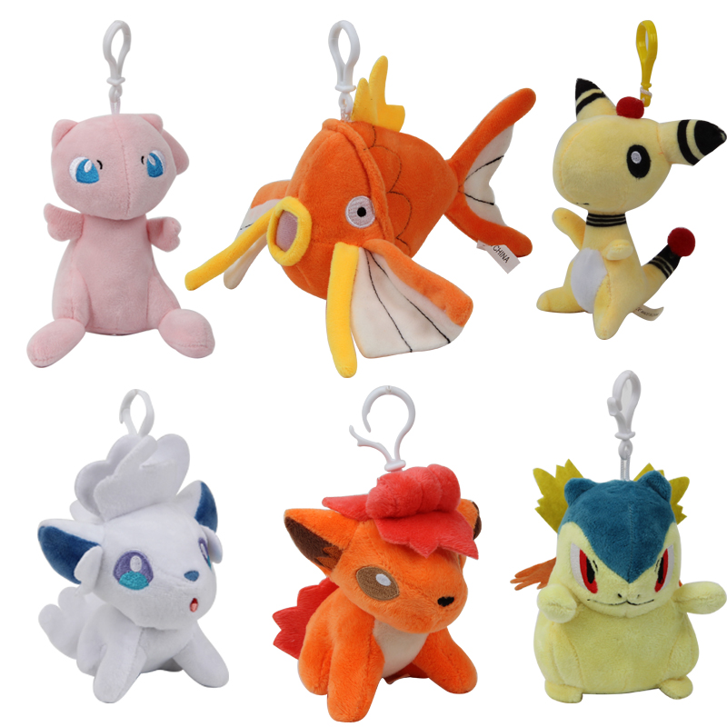 12-15CM Kawaii pokemones lot pikachu Mew Vulpix Magikarp Stuffed Mini Plush toy Anime dolls key chain Gift for Children girls
