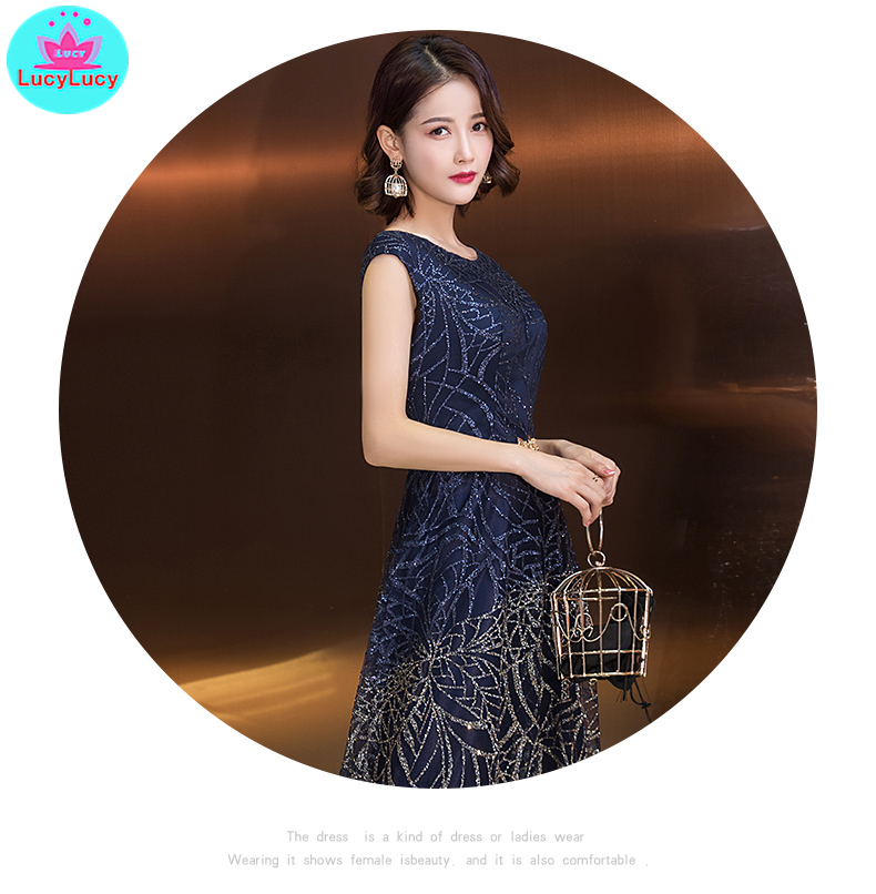 2019 new summer Korean style dignified banquet long party party slim dress Floor Length O Neck Zippers Sleeveless in Dresses from Women 39 s Clothing