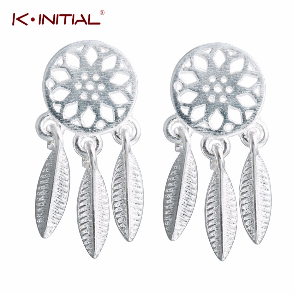 Kinitial 925 Silver Cute After Guashi Feather Dream Catcher Modular Sets Bps10 1 4 Square Drive Socket Set Blue Point Stud Earrings For Women Sterling Jewelry Statement Earring