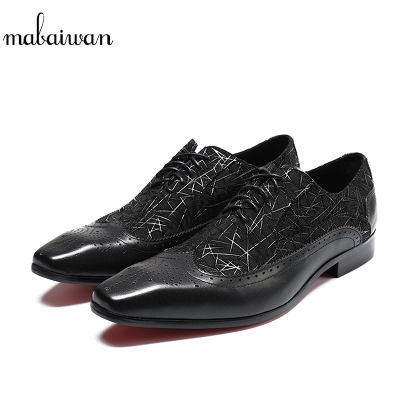 Mabaiwan Solid Black Brogue Genuine Leather Dress Men Casual Shoes Lace Up Business Wedding Flats Shoes Loafers Plus Size 38-46