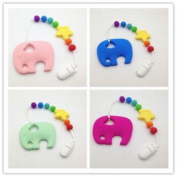 Clip de silicona para chupete con elefante grande, mordedor de silicona con forma de girasol, pinza para dentición, collar exento de BPA para dentición de bebé