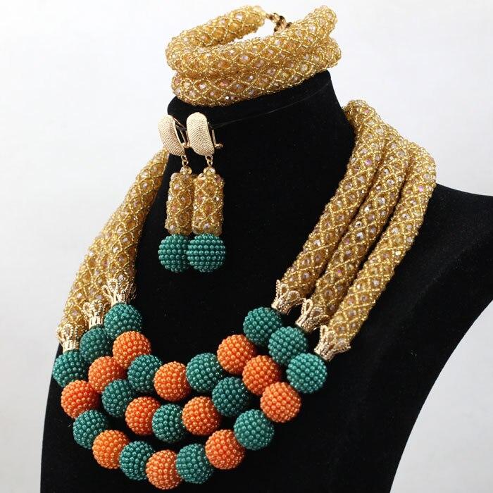 Perfecto Champagne Oro africano juego de joyas con cuentas Teal/bolas naranjas diseños de joyería de boda de 2017 cuentas de regalo envío gratis WD109 - 5