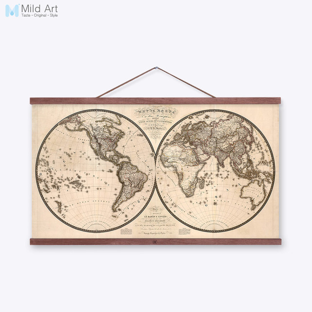 2 vintage antique geography world map original big poster prints 2 vintage antique geography world map original big poster prints retro large canvas paintings living room gumiabroncs Gallery
