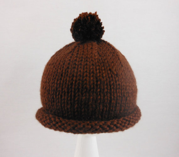 fae54d9c5 US $4.39 10% OFF Brown Baby Hat Hand Knit Acrylic Cap Fitting Babies 0 to  12 Months Old Soft Rolled Brim Beanie With Pom Pom For Infants-in Hats & ...