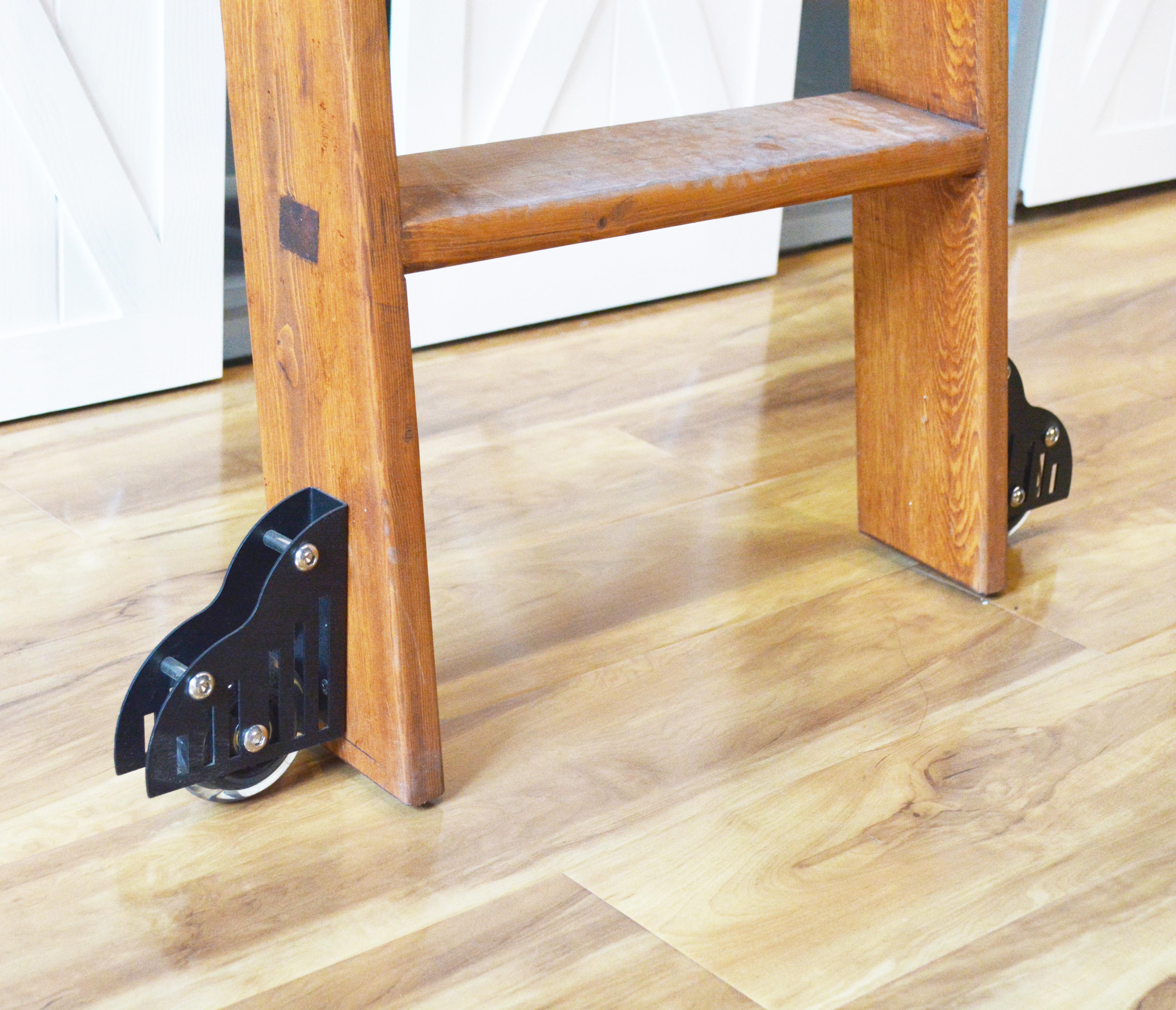 DIYHD Scorrevole Barn Scaletta Biblioteca Pavimento Rullo Mobili Pavimento Roller Set (2 pcs)