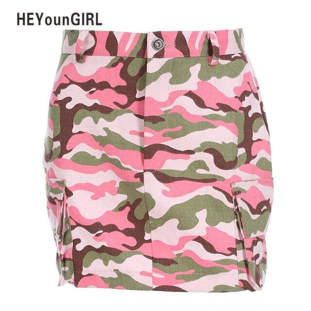 94d2eaab6 HEYounGIRL Pink Camo Denim Skirts Womens Summer High Waist Short Skirt  Fashion Vintage Camouflage MIni A Line Skirt Streetwear