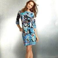 Top Qualité Élégant Pteris Fleur Impression Stretch Knit Dress