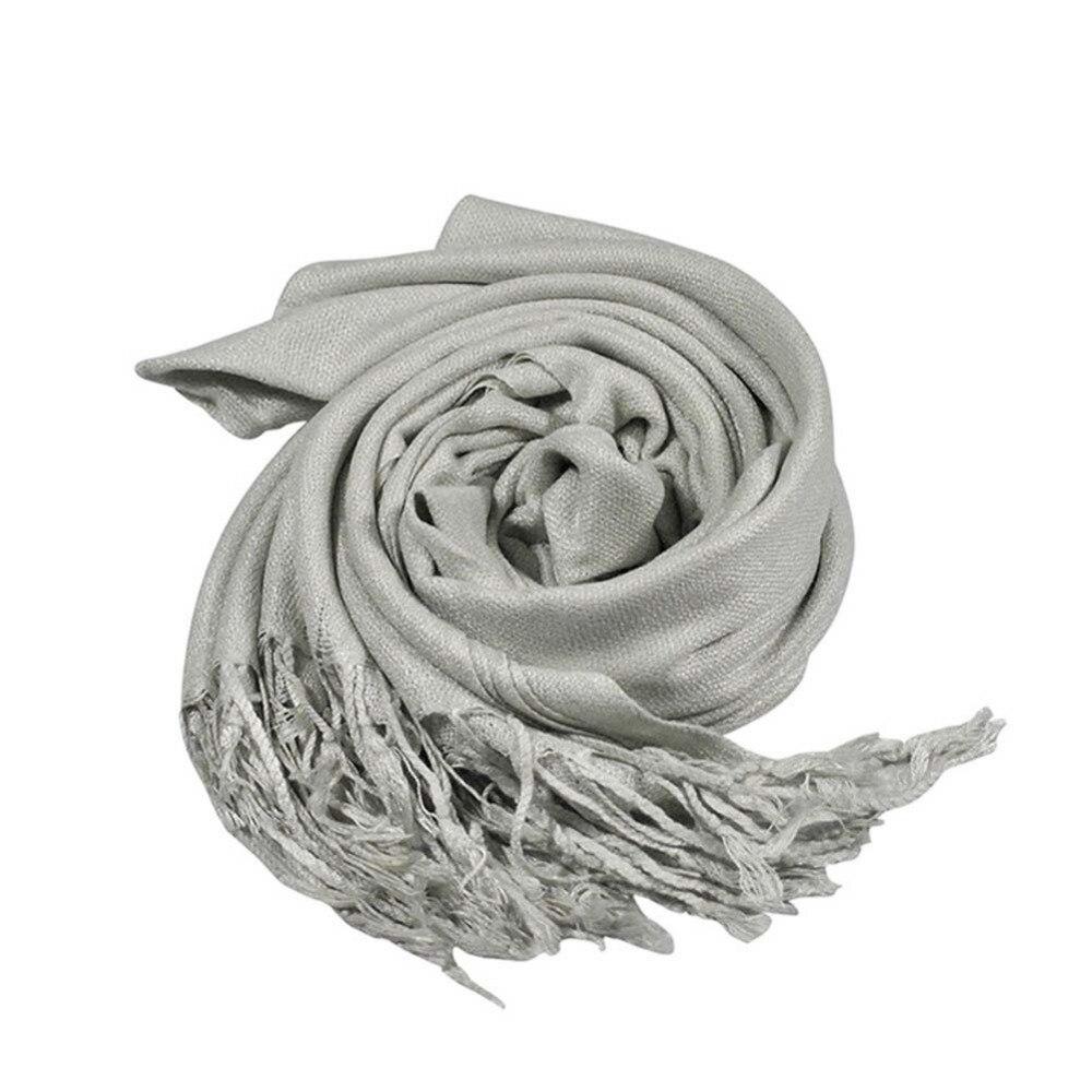 Womens Winter Warm Cashmere Silk Solid Long light grey Pashmina Shawl   Wrap     Scarf   Stylish Gift