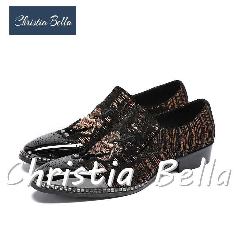 Christia Bella Zapatos Hombre Fashion Mens Shoes Casual Patchwork Suede Patent Leather Embroidery Wedding Shoes Men LoafersChristia Bella Zapatos Hombre Fashion Mens Shoes Casual Patchwork Suede Patent Leather Embroidery Wedding Shoes Men Loafers