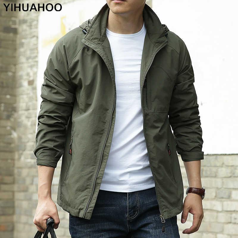 YIHUAHOO Весенняя мужская куртка с капюшоном плюс Размеры 5XL 6XL Повседневное спортивное пальто Для мужчин's быстросохнущая модная верхняя одежда тонкая ветровка Для мужчин