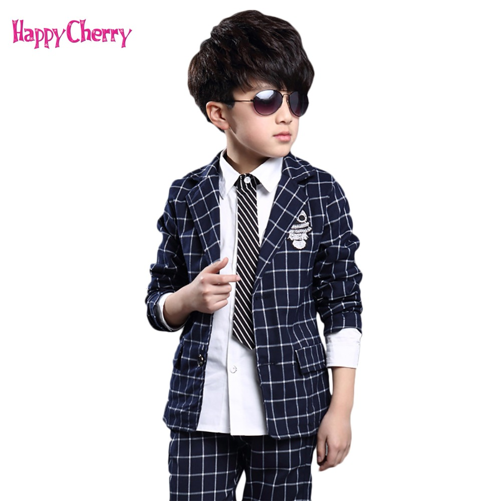 цена на Cool Children's Winter Baby Boys Clothes Sets Full Sleeve Plaid Gentleman Suit For Boys Children Clothing Costume For Kids Suits