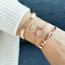 Boho Golden Cute Cat Crystal Charm Bracelets Set Women Classic Arrow Knot Moon Gem Bangles Fashion Female Bracelet Party Jewelry цены