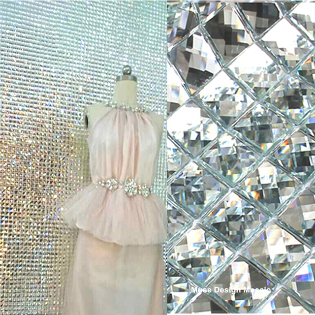 13 Facets Beveled Mirror Tiles Silver Bathroom Wall Sheets Glass