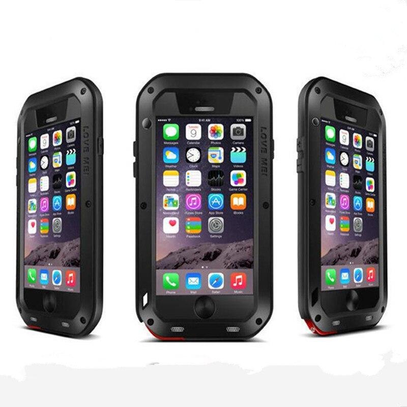 imágenes para Amor Mei caso de la marca Para el iphone 6 6 s 6 plus anti-golpeado Metal De Aluminio Gorilla Glass Resistente Templado Cubierta de la caja