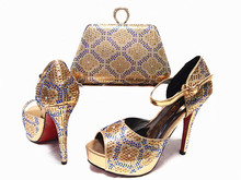 2016 Fashion Italian Shoes With Matching Bags For Party,High Quality Shoes And Bags Set JA10-2 Gold color