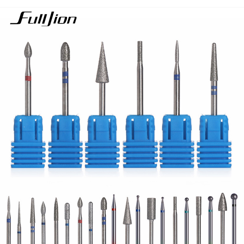 Fulljion 1Pcs Diamond Nail Drill Milling Cutters For Manicure Pedicure Drill Bits Nail Files Electric Milling Burr Grinder Tool