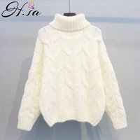 H.SA Women Winter Warm Christmas Sweaters Korean Twist Knitwear Pullovers Long Sleeve Thick Jumpers Loose Outerwear Tops 2018