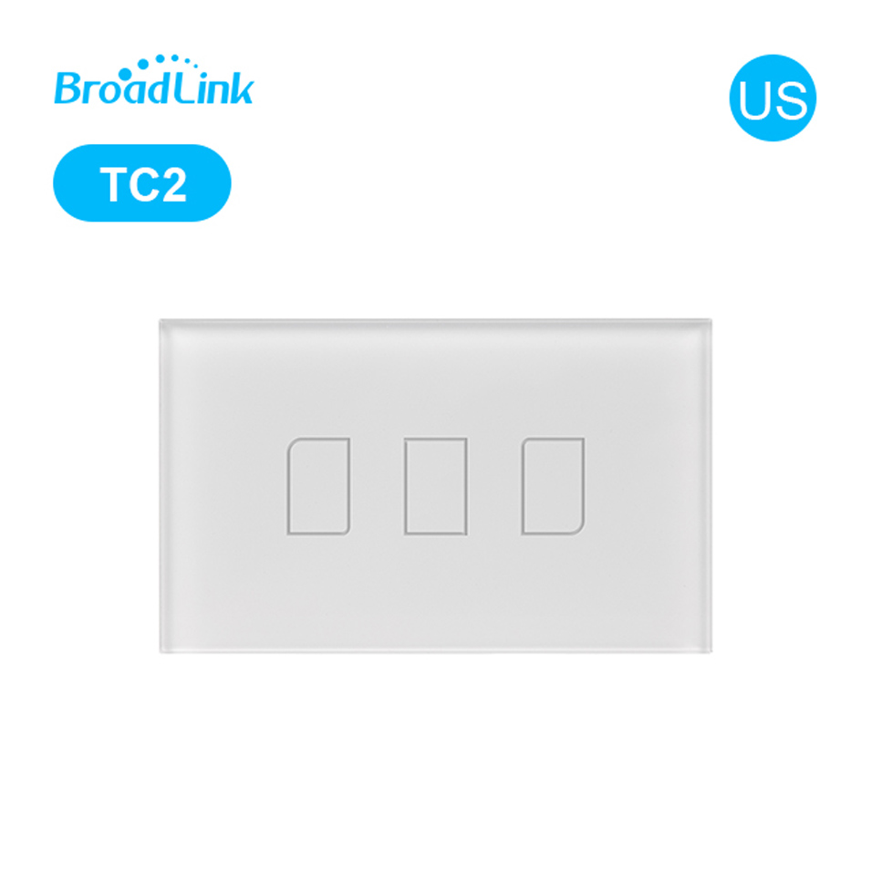Original Broadlink TC2 US Standard Touch Panel Switch Smart Home Automation RM PRO Wireless WiFi Control Light <font><b>RF433</b></font> <font><b>Wall</b></font> Switch image