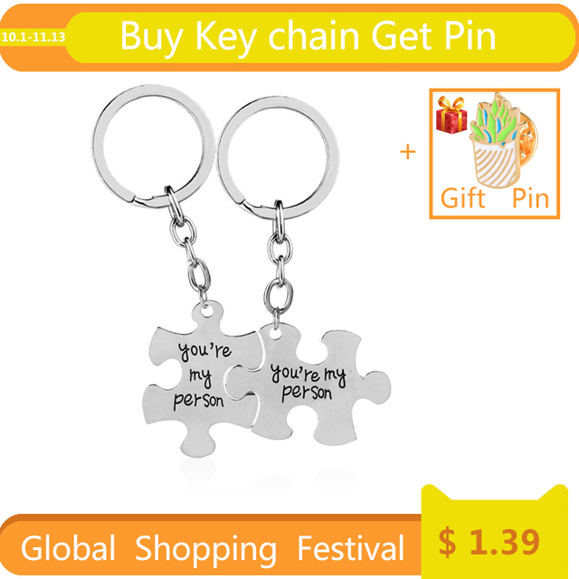 lovers key rings 2 You Are My Person keychains set Lover Best Friend key chain c